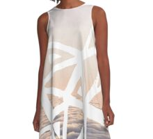 Geometric lino cut printed pattern in combination with photography, nature inspired A-Line Dress