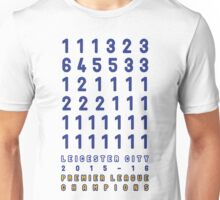 Leicester City FC PL Champions Table Positions 2015-2016 Unisex T-Shirt
