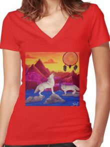 Perfect Dream Acrylic Artwork Women's Fitted V-Neck T-Shirt