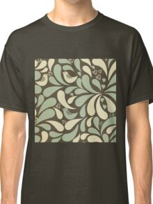 Retro,70's,pattern,vintage,rustic,teal,mint,brown,yellow,grunge Classic T-Shirt