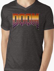80's Cyber Grid Doom Emblem Mens V-Neck T-Shirt