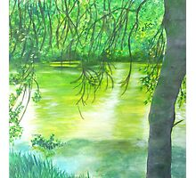 Peinture forêt verte - green forest painting  Photographic Print