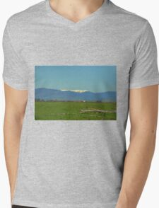 Mount Bogong over the weir wall Mens V-Neck T-Shirt