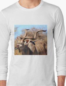 Kudu Bull - African Wildlife Background - Spiral Pride Long Sleeve T-Shirt