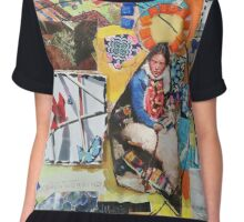 """Women Working"" Colorful Layered Mixed Media Collage Chiffon Top"