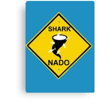 caution-sharknado Canvas Print