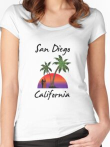 San Diego California Women's Fitted Scoop T-Shirt