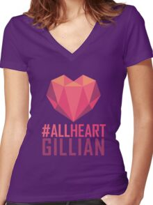 #AllHeartGillian - Pink  Women's Fitted V-Neck T-Shirt