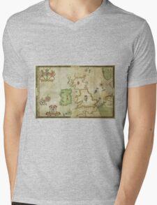 Vintage Map of The British Isles (1590) Mens V-Neck T-Shirt