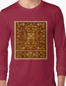 Vintage Leaf and Flower Brown Design Pattern Long Sleeve T-Shirt