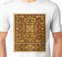 Vintage Leaf and Flower Brown Design Pattern Unisex T-Shirt
