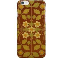 Vintage Leaf and Flower Brown Design Pattern iPhone Case/Skin