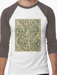 Light Green Leafy Vines Design Men's Baseball ¾ T-Shirt