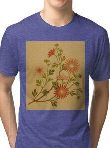 Vintage Pink and Red Wildflower Design Tri-blend T-Shirt