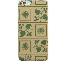 Vintage Green Vines, Leaves and Star Blocks Design iPhone Case/Skin