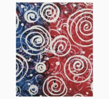 Spinning Tops Red White Blue and Swirls Patriotic  Kids Tee