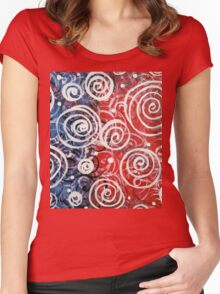 Spinning Tops Red White Blue and Swirls Patriotic  Women's Fitted Scoop T-Shirt