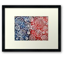 Spinning Tops Red White Blue and Swirls Patriotic  Framed Print