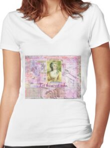 Marie Antoinette  Let Them Eat Cake quote   Women's Fitted V-Neck T-Shirt