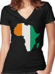 Ivory Coast Flag Africa Map T-Shirt Women's Fitted V-Neck T-Shirt