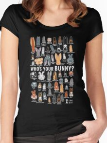 Who's Your Bunny   Show Rabbit Breeds Textile Angora Holland Lop Belgian Hare Rex Rhinelander Dutch Jersey Wooly American Rabbit Breeders Women's Fitted Scoop T-Shirt