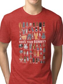 Who's Your Bunny | Show Rabbit Breeds Textile Angora Holland Lop Belgian Hare Rex Rhinelander Dutch Jersey Wooly American Rabbit Breeders Tri-blend T-Shirt