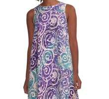 Ocean Breezeway Aqua Blue Purple Violet White Swirling Water A-Line Dress
