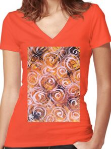Oat Harvest Yellow Black Purple Orange Summer Fall Colorful Colors Women's Fitted V-Neck T-Shirt