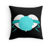 Teal Rose Heart Design by Kat Worth Throw Pillow