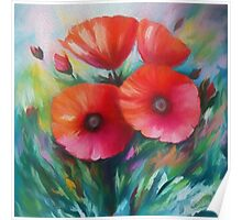 Expressionist Poppies Poster
