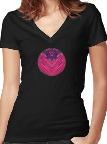 Modern Red / Black Stripe Abstract Stream Lines Texture Design (Symmetric edition) Women's Fitted V-Neck T-Shirt