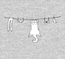 Wet Washing Cat One Piece - Long Sleeve