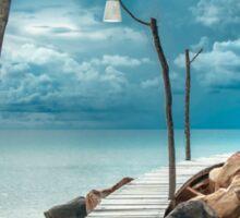 Empty wooden pier on tropical island Sticker