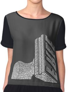 Cleveland Free Stamp Typography Chiffon Top