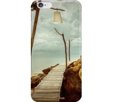 Empty wooden pier on tropical island, color filter applied iPhone Case/Skin