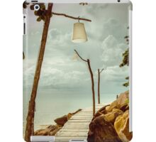 Empty wooden pier on tropical island, color filter applied iPad Case/Skin