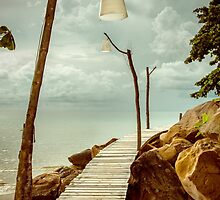 Empty wooden pier on tropical island, color filter applied by Stanciuc