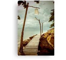 Empty wooden pier on tropical island, color filter applied Canvas Print