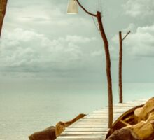 Empty wooden pier on tropical island, color filter applied Sticker