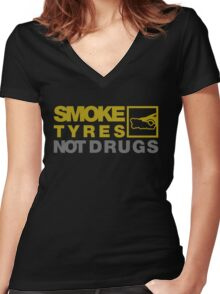 SMOKE TYRES NOT DRUGS (3) Women's Fitted V-Neck T-Shirt