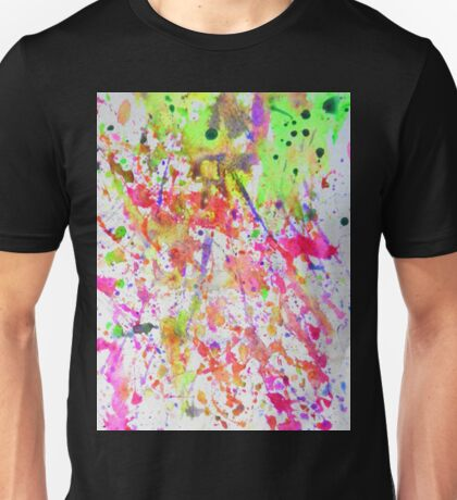 Fluorescent Paint Splatter Eighties Retro Pattern Unisex T-Shirt