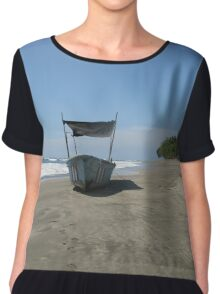 Fishing Boat at the Beach in Costa Rica Chiffon Top