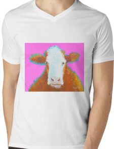 Hereford Cow on pink Mens V-Neck T-Shirt
