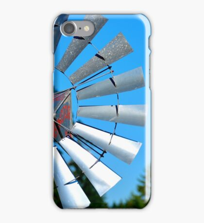 Windmill with Mt. Rainier in the Background iPhone Case/Skin