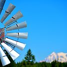 Windmill with Mt. Rainier in the Background by Alemay