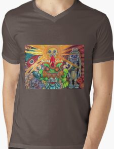 Ancient Aztec Gods of the Underworld Mictlan Mens V-Neck T-Shirt