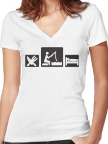Eat fish sleep Women's Fitted V-Neck T-Shirt