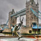 Tower Bridge with dancing dolphin by Michael Matthews