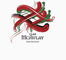 Clan McAulay - Prefer your gift on Black/White, let us know at info@tangledtartan.com Unisex T-Shirt