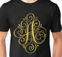 Golden Monogram Calligraphy A Unisex T-Shirt